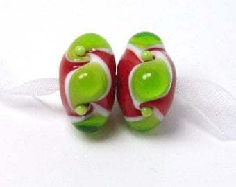 Glass lampwork beads  -  Twisted Christmas  -  green, red, white, loose glass beads, earring lampwork pair