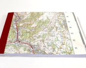 Risca - Cardiff #7 - Recycled Vintage Map Handbound Pocket Notebook / Travel Journal / Sketchbook with Upcycled Blank Pages