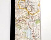 Dolgellau, Gwynedd North Wales #5 - Ffestiniog - A5 Recycled Vintage Map Notebook / Travel Journal / Sketchbook with Upcycled Blank Pages