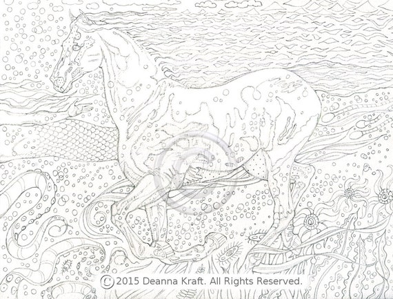 mermaid and seahorse coloring pages - photo#32