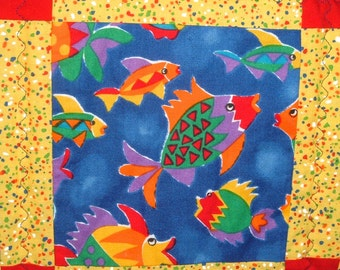 Brightly Colored Baby Quilt With Fish For Boys Or Girls In Blue And Yellow