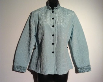 Vintage 1950's Aqua & Black Quilted Jacket. Asian style to be worn as a bed jacket or with black pants for a night out.