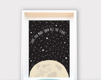 More than all the stars, Wall Art 8x10 Print, Kids Room Decor / Nursery Art Print / Kids Interior Design