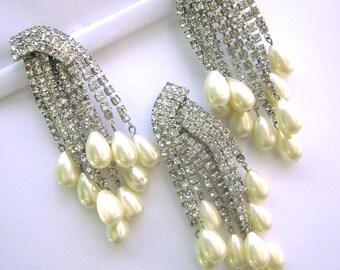 Vintage Rhinestone Pearl Chandelier Earrings Matching Brooch Clip On Earrings Wedding Jewelry