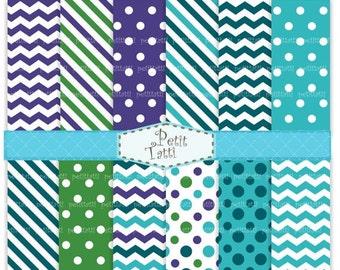 ON SALE Digital Paper Digital Background,blue, green,chevron, stripe,polkadots, paper background