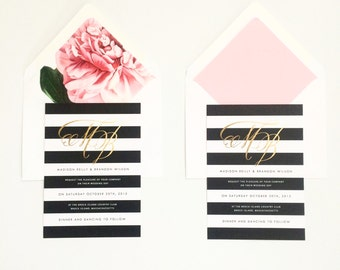MADISON SUITE // Stripe Wedding Invitation in Black and White, Modern, Botancial, Chic, Gold Foil, Classic, Monogram, Peony Liner, Peony