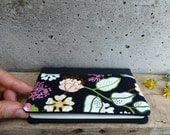 Black Moleskine cover with flowers. Fabric Moleskine cahier cover with floral pattern. Refillable journal cover