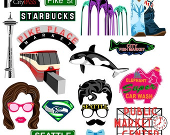 Seattle digital photo booth props Instant download
