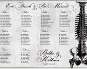 Anatomy Seating Chart Digital Design Printable PDF Custom Personal Poster Print File ONLY Seating Plan Gothic Dark Offbeat Halloween Wedding