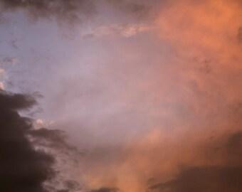 Sunset Orange Purple Clouds Evening Fading Light Colorado Rustic Cabin Lodge Photograph