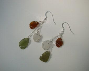 Sterling Silver Fall Earrings - Amber, Olive Green, White Sea Glass Earrings - Wire Wrapped Autumn Earrings