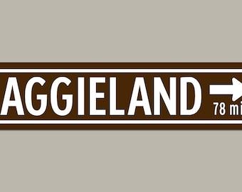 Custom Texas A&M AGGIELAND Road Sign