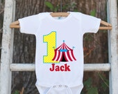 First Birthday Carnival Outfit - Personalized Carnival Bodysuit For Boy's 1st Birthday Party - Circus Onepiece Birthday Shirt w/ Name & Age