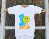 Monster Outfit - Personalized Bodysuit For Boy's 1st Birthday Party - First Birthday Little Monster Onepiece Birthday Outfit With Name & Age