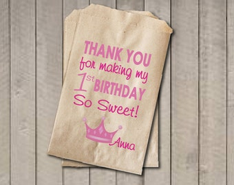 Girl Birthday Favor Bags, Princess Candy Bags, First Birthday Favor Bag, Birthday Candy Bags, Princess Birthday Candy Buffet