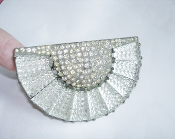 Fur Clip Brooch Silver Tone Clear Etched Crystal Glass Rhinestones Vintage Jewelry