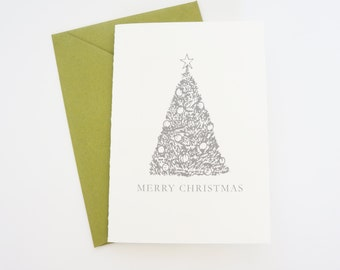 Merry Christmas Card Hand Drawn Christmas Tree Elegant Card