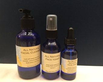 All Natural Organic Facial Cleanser, Toner, and Serum