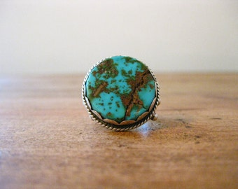 Vintage Round Turquoise Sterling Silver Native American Ring