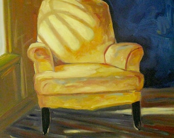 "Yellow Chair, Original oil painting. Deep edge. Yvonne Wagner.  Painting of chair. 30 x 40 x 1.5""  (76 x 102 cm) Free Shipping to USA"