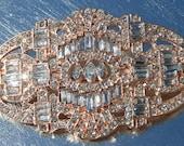 Vintage Inspired Rose Gold Rhinestone Art Deco Brooch for Brooch Bouquets, Wedding Belt, Bridal Sashes ~ Fast ship from USA Designer