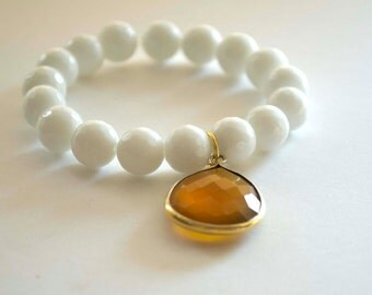 White Bracelet, Stretch Bracelet, Stacking Bracelet, Beaded Bracelet, Glass Bead Bracelet,  Layering Bracelet