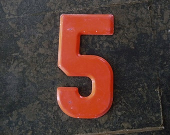 NUMBER 5, 5 1/2 Tall Vintage Metal Number, Five Marquee Signage  -3-