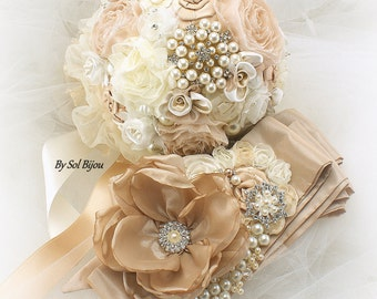 Sash, Brooch Bouquet, Ivory, Cream, Champagne, Gold, Jeweled Bouquet, Vintage Wedding, Elegant Wedding, Pearls, Crystals, Brooches, Lace