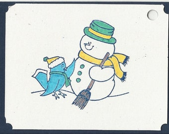 Snowman and Friend Christmas Tags-Set of 5