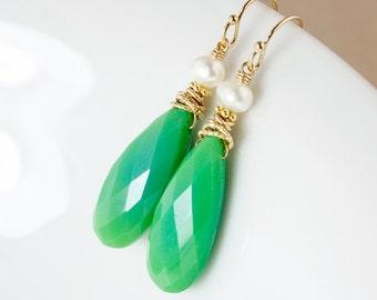 Green Chrysoprase Earrings – Freshwater Pearls – 14K Gold Fill