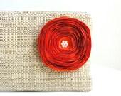 Tan Woven Clutch Handbag / Orange Satin Flower