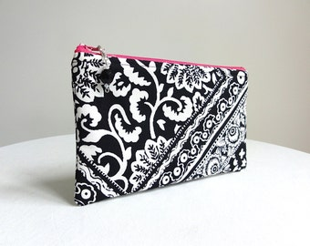 Black and White Patterned Clutch / Zippered Bag with Beaded Pull - READY TO SHIP