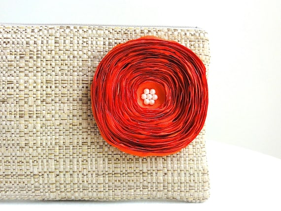 Tan Woven Clutch Handbag / Orange Satin Flower