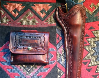 Custom made to order holster and pouch set.