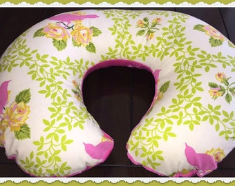 Up Parasol Mockingbird Pink and Hot Pink Nursing Pillow Cover, Super Soft Minky Revers