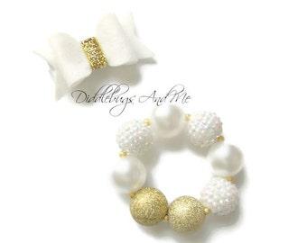 White And Gold Chunky Bracelet, Girls Gold Bubblegum Bracelet, Girl's Jewelry, Bubblegum Bracelet, Gold And White Bubblegum Bracelet