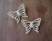 Vintage Butterflies Set Pair Two Cream Home Decor Repurposing
