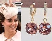 Kate Middleton Dark Rose Pink Gold Crystal Square Earrings- e678