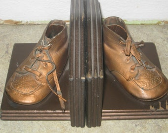 Vintage Bronzed Shoes Bookends on Wood