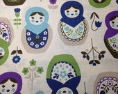 RESERVED for Melissa 3 yds Kokka MATRYOSHKA fabric blue/cream