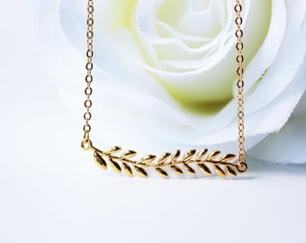 Gold Laurel Leaves Necklace Modern Woodland Dainty Jewelry