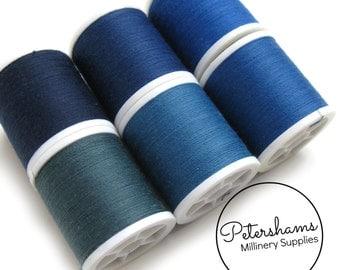 Dark Blue Thread Collection - 6 Shades of Polyester Thread on 100 yard Spools