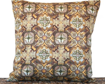 Brown Geometric Pillow Cover Cushion Fall Autumn Squares Mustard Green Blue Crosses Hearts Decorative 18x18