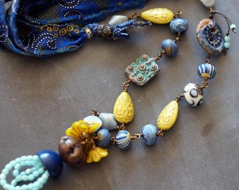 Blue Silk Necklace - Boho Blue Necklace - Mixed Media Jewelry - Eclectic Necklace - Blue and Yellow - Boho - Bead Soup Jewelry