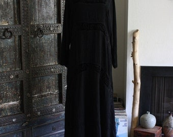 90s rayon and velvet embroidered goth grunge dress
