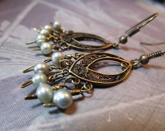 Brass Earrings Mint Green Pearls Chandelier Drop  #1131