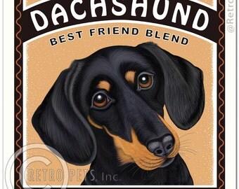 "8x10 Dachshund Art - Darling Dachshund Coffee - ""Long On Flavor"" -  Art print by Krista Brooks"