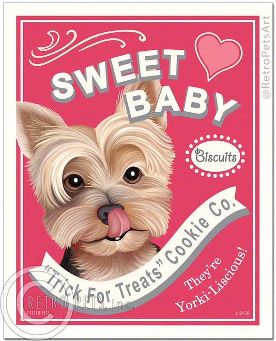 "8x10 Yorkie Art - Sweet Baby Biscuits ""Trick For Treats"" - Art print by Krista Brooks"