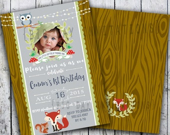 Woodland Invitations, Woodland Birthday Invitation, Boy Woodlands Fox Owl Invite, Photo Birthday Invite, Quick Turnaround