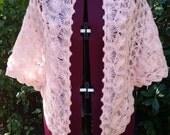 Crocheted Shawl Crocheted Wrap Hairpin Lace 1950s 1960s Vintage Shawl Vintage Wrap Pink Shawl Pink Wrap Shabby Chic Boho Chic Bohemian